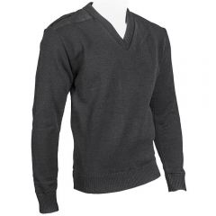 V-Neck Lined Military Sweater