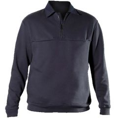 Quarter Zip Job Shirt with Rib Knit
