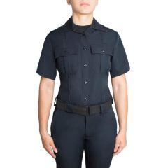 Short Sleeve Zippered Polyester Shirt for Women